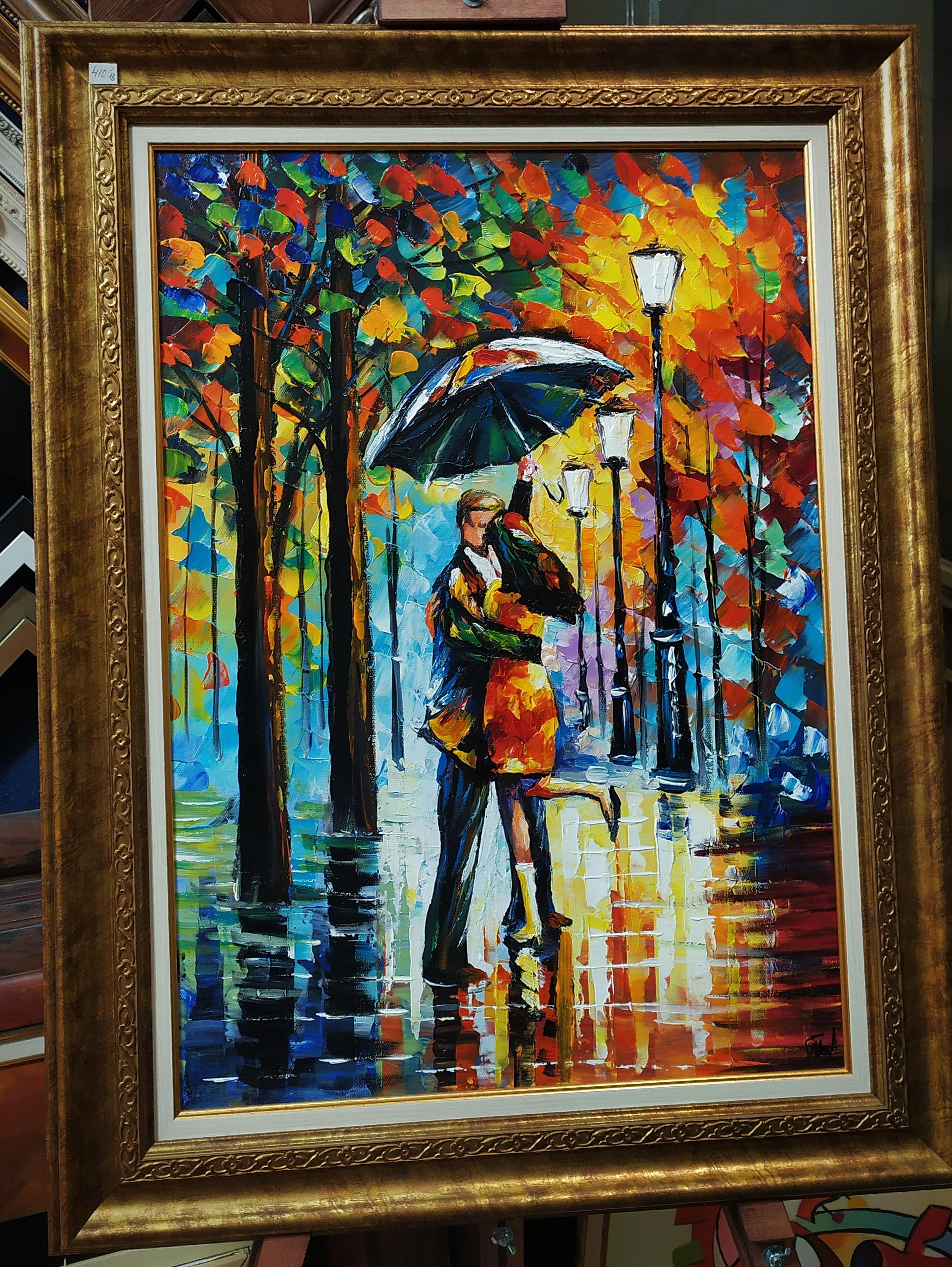 """Маслена картина """"Прегръдка топлина под дъжда"""" – Георги Петров"""