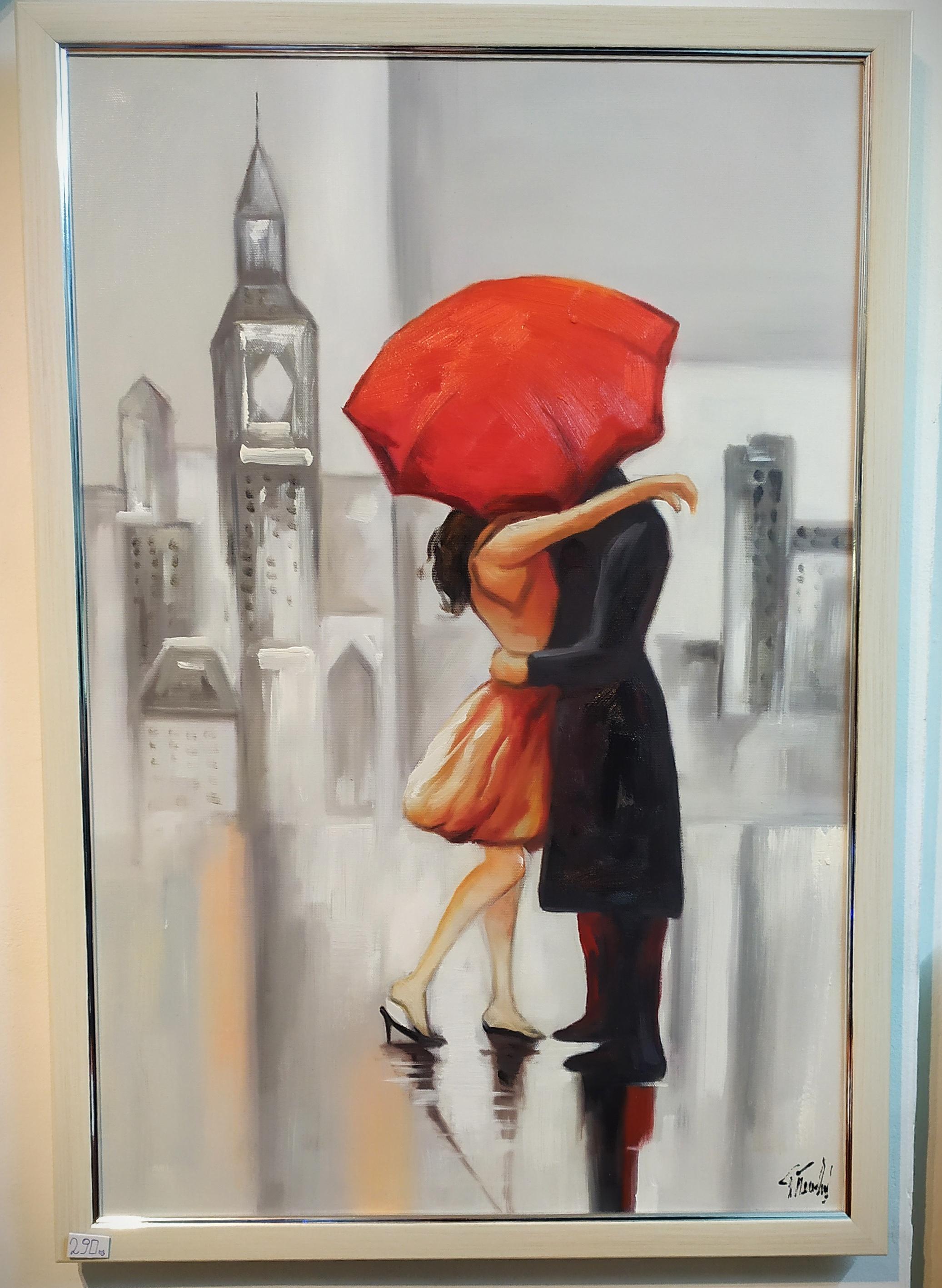"""Маслена картина """"Любовта под червеният Чадър"""" – Георги Петров"""